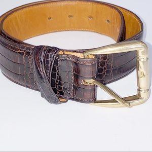Joan & David   Croc Leather Brown Belt Brass Buckl